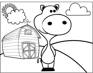 Pig on a Farm coloring page