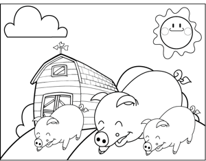 Pigs on a Farm coloring page