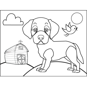 Puppy on Farm coloring page
