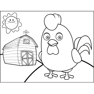 Rooster by Barn coloring page