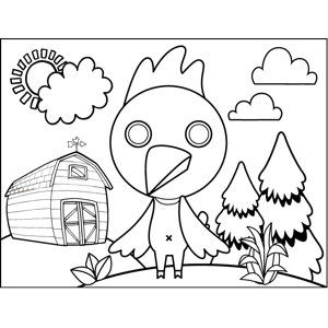 Rooster on Farm coloring page