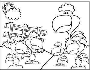 Roosters coloring page