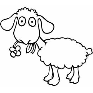 Sheep With Flower coloring page