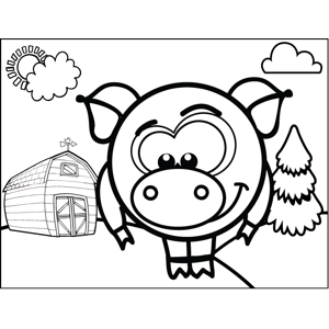 Shy Pig coloring page