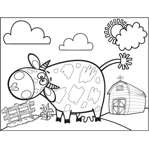 Silly Spotted Cow coloring page