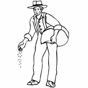 Sowing Farmer coloring page