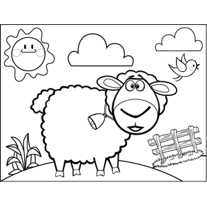 Surprised Sheep with Bell coloring page