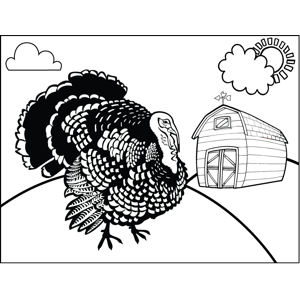Turkey on Farm coloring page
