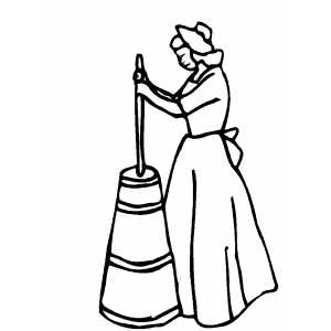 Woman Churning Buttermilk coloring page