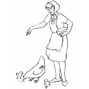 Woman Feeding Chickens coloring page