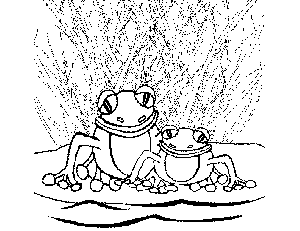 2 Tropical Frogs coloring page