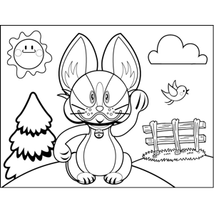 Angry Rabbit Waving coloring page