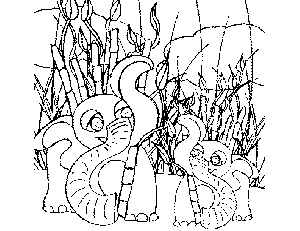 Baby and Mama Elephant coloring page