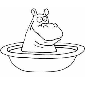 Bathing Hippo coloring page