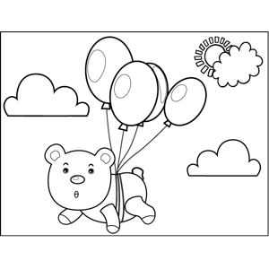Bear Tied to Balloons coloring page