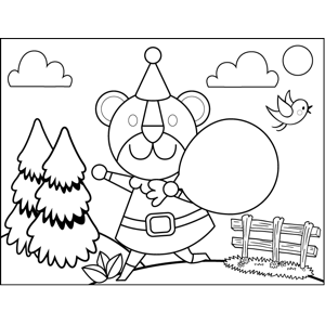 Birthday Bear with Balloon coloring page