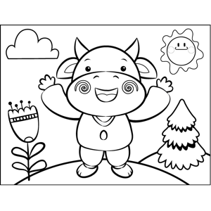 Blushing Cow coloring page