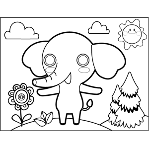 Blushing Elephant coloring page