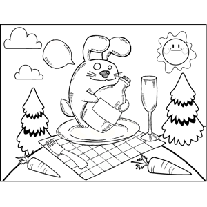 Bunny and Bottle coloring page