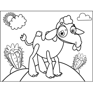Camel with Cacti coloring page