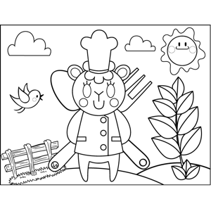 Chef Mouse with Utensils coloring page