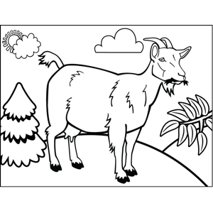 Chewing Goat coloring page