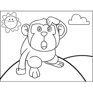 Confused Monkey coloring page