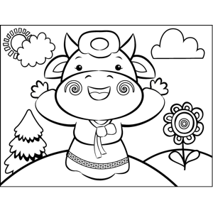 Cow in a Dress coloring page