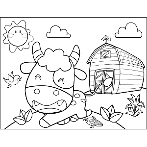 Cow with Barn coloring page