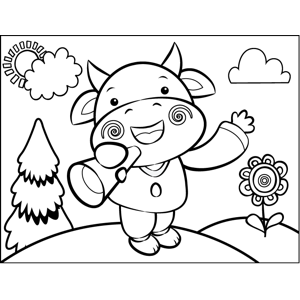 Cow with Bull Horn coloring page