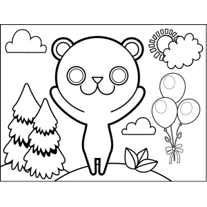 Cute Bear with Balloons coloring page