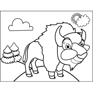 Cute Buffalo coloring page