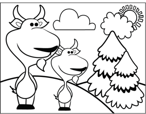 Cute Goats coloring page