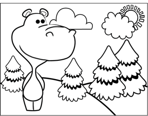 Cute Hippo coloring page