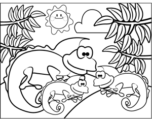 Cute Iguanas coloring page