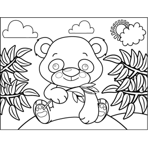 Cute Panda with Bamboo coloring page