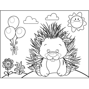 Cute Porcupine coloring page