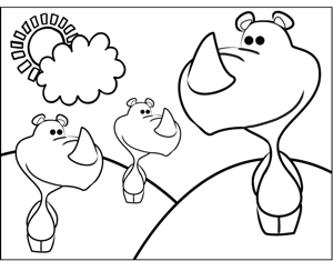 Cute Rhinos coloring page