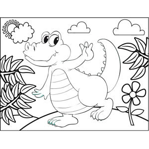 Dancing Alligator coloring page