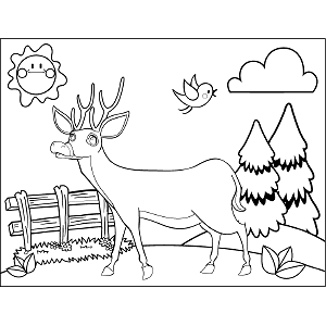Deer with Antlers coloring page