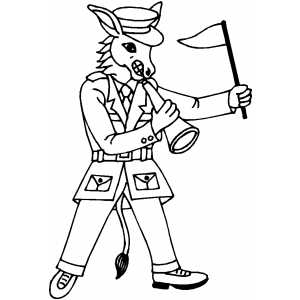 Donkey Drill Sergeant coloring page