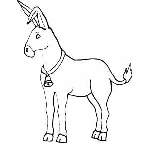 Donkey With Bell coloring page