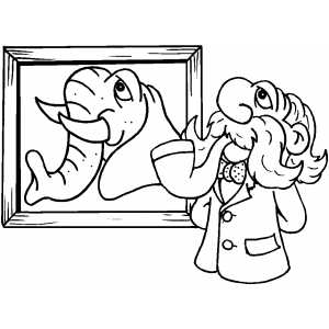 Elephant On Frame coloring page