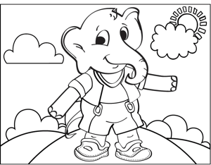 Elephant in Clothes coloring page