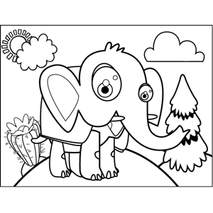 Elephant with Shell coloring page