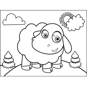 Excited Sheep coloring page
