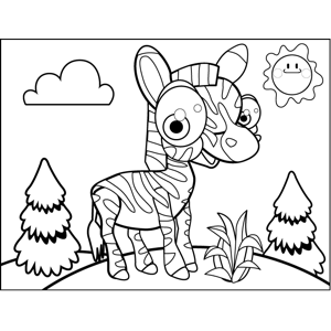 Excited Zebra coloring page
