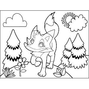 Fox Trotting coloring page