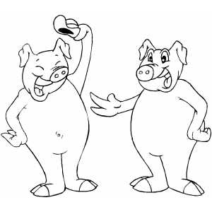 Friendly Pigs coloring page