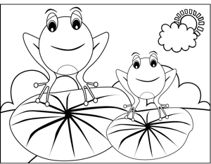 Frogs on Lilypads coloring page